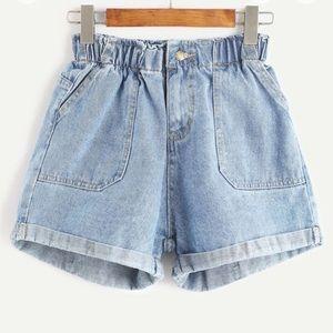 Paperbag jean shorts